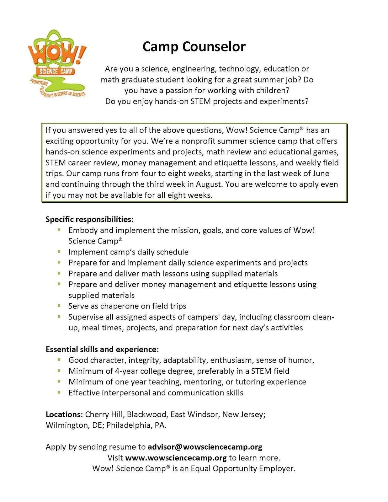 school counselor resume sample cv examples behavioral skills for big four professional Resume Day Camp Counselor Resume