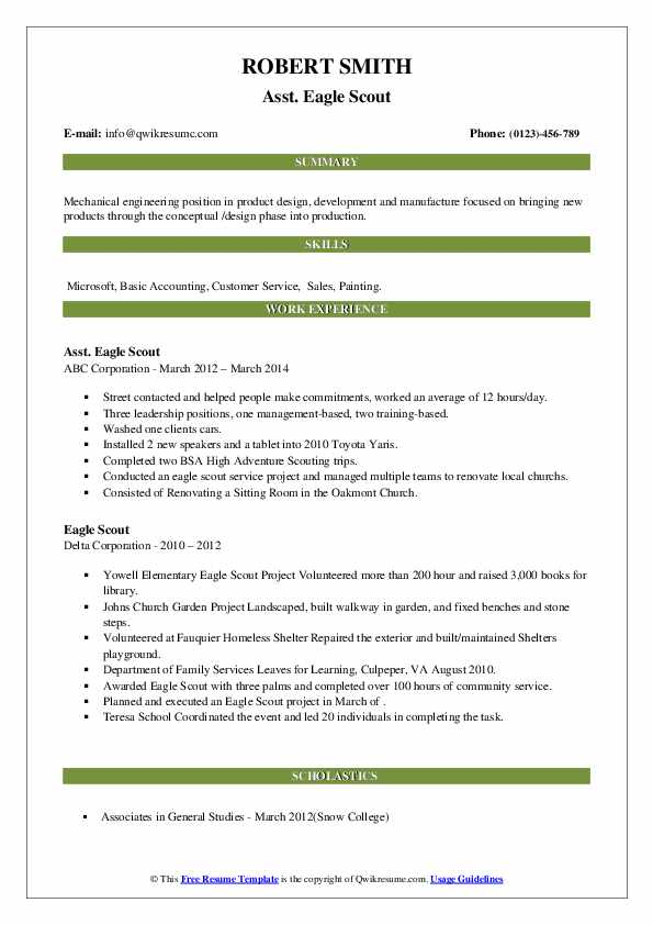 scout resume samples qwikresume template pdf help cost tips for making great writers Resume Eagle Scout Resume Template