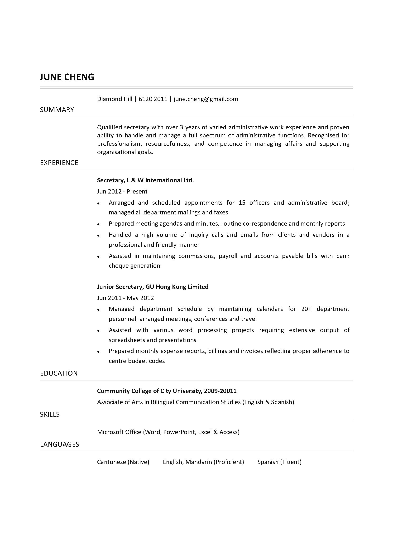 secretary cv ctgoodjobs powered by career times resume template free computer graphics Resume Secretary Resume Template Free