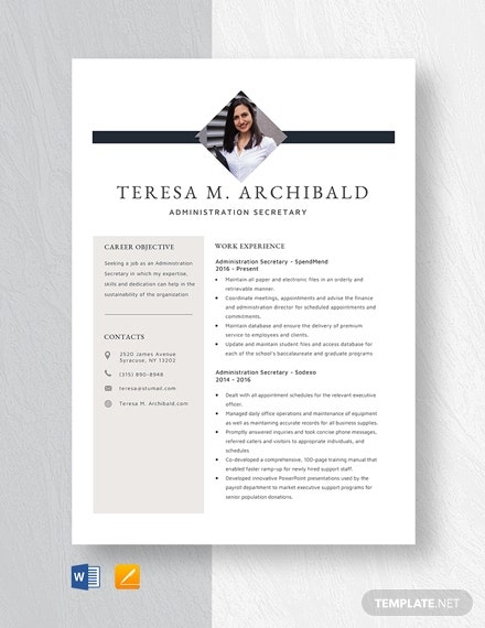 secretary resume templates free sample example format premium template administration Resume Secretary Resume Template Free