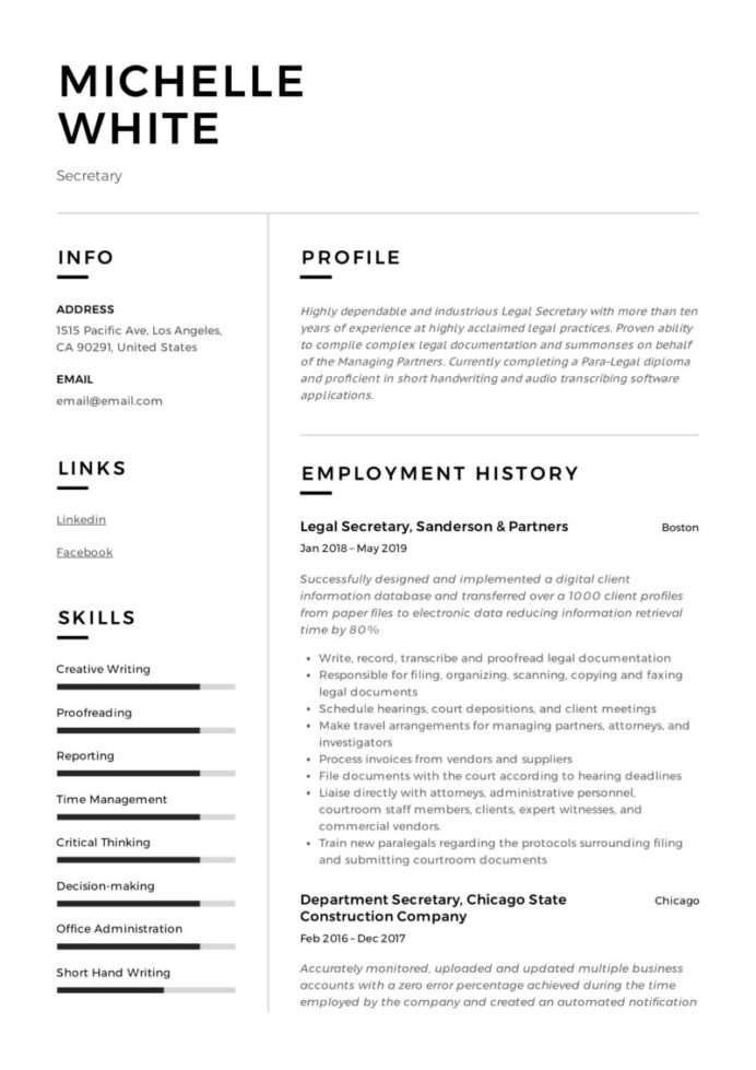 secretary resume writing guide template samples pdf free 800x1132 example of childcare Resume Secretary Resume Template Free