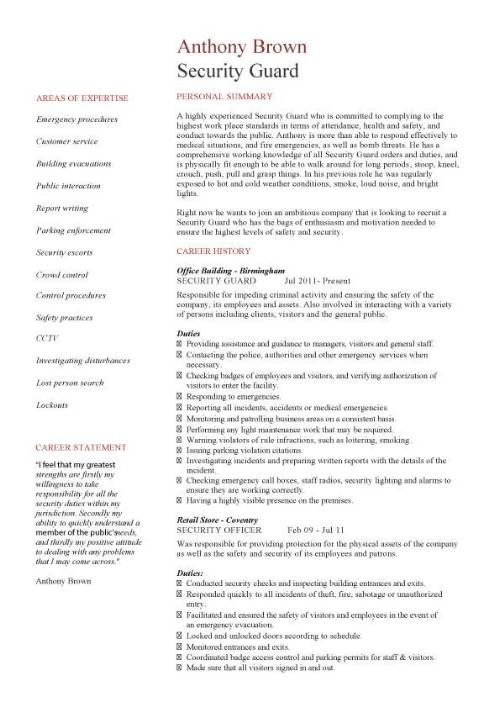 security guard cv sample resume officer examples access control finance unique Resume Security Access Control Resume