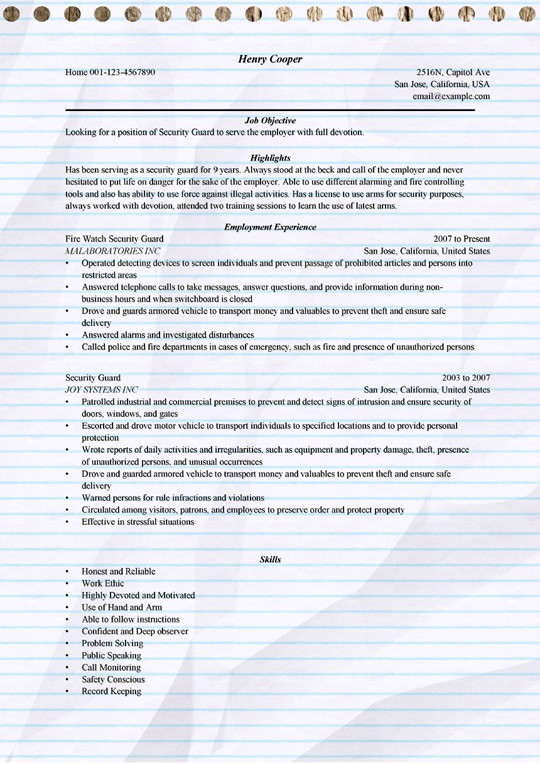 security guard resume example for microsoft word position sample machine operator job Resume Security Position Resume