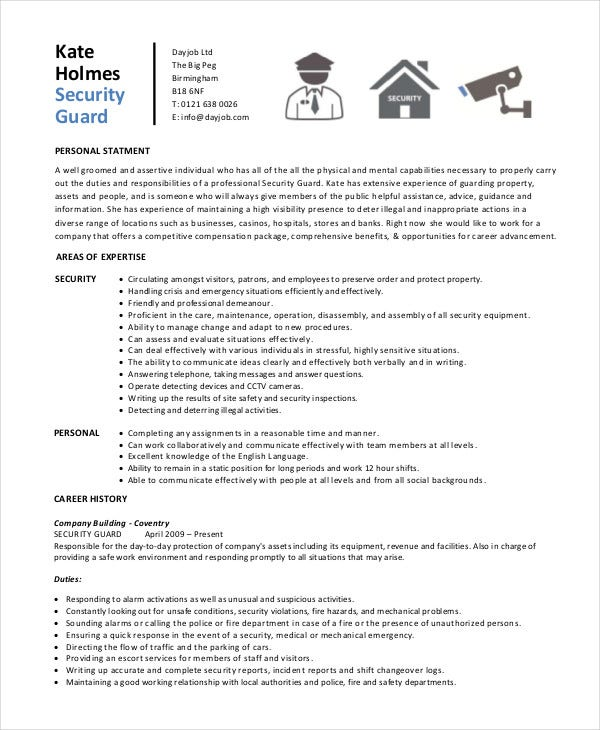 security guard resume free sample example format premium templates personal assets for Resume Personal Assets For Resume