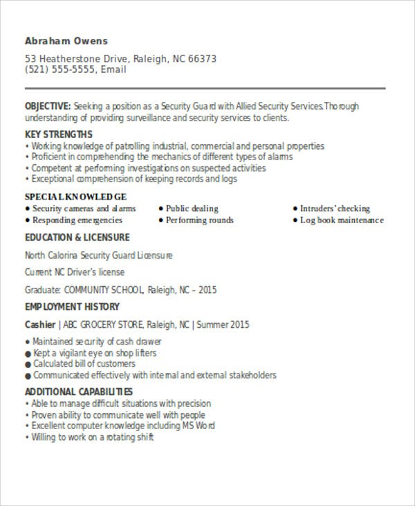 security guard resumes free word pdf format premium templates position resume for fresher Resume Security Position Resume