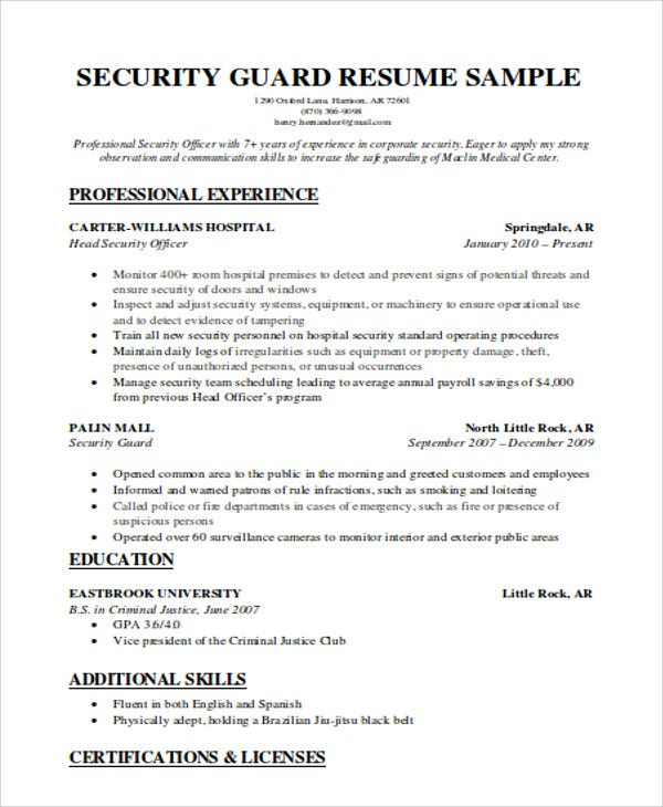 security guard resumes free word pdf format premium templates position resume officer Resume Security Position Resume