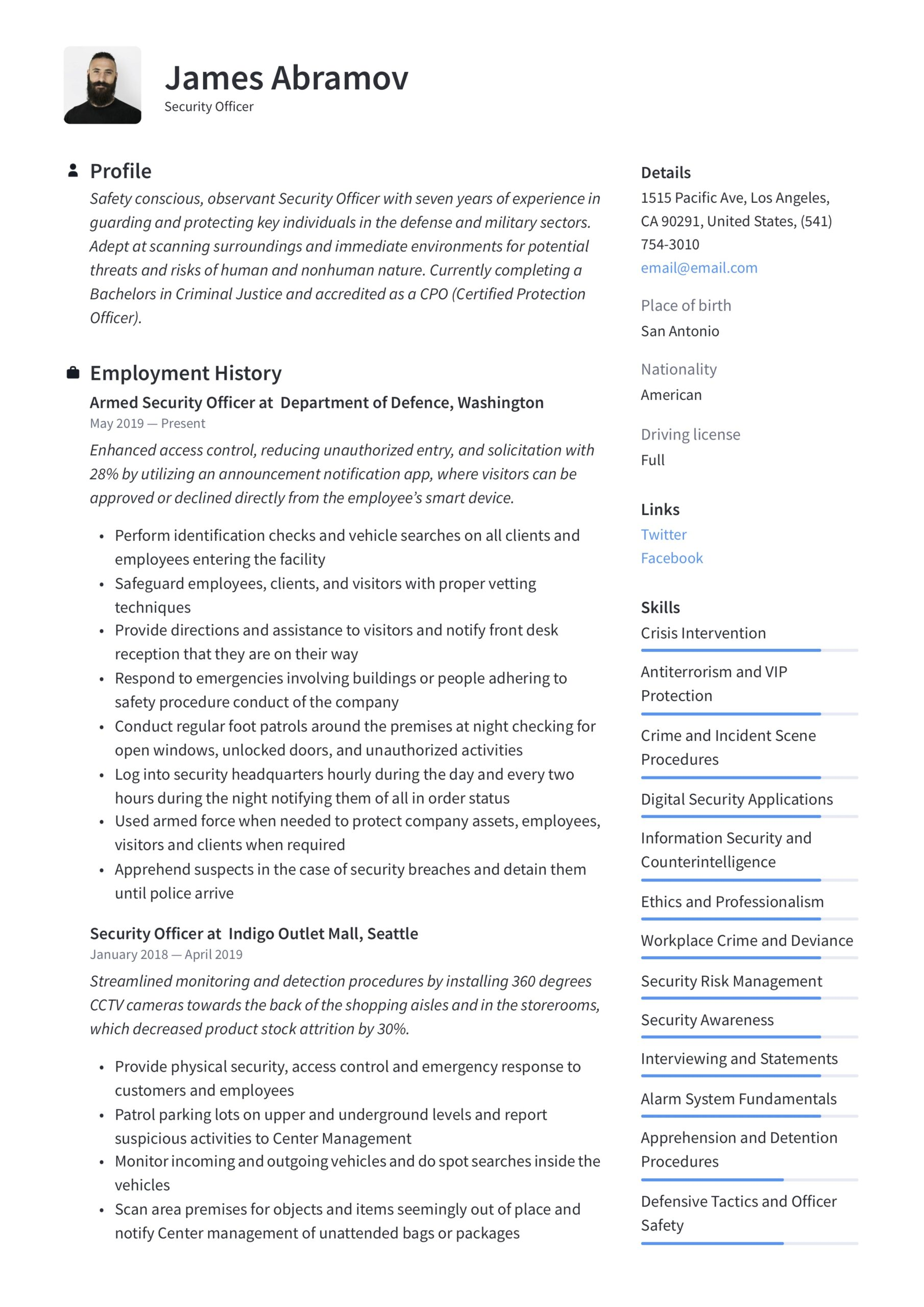 security officer resume writing guide examples access control chief of staff job admin Resume Security Access Control Resume