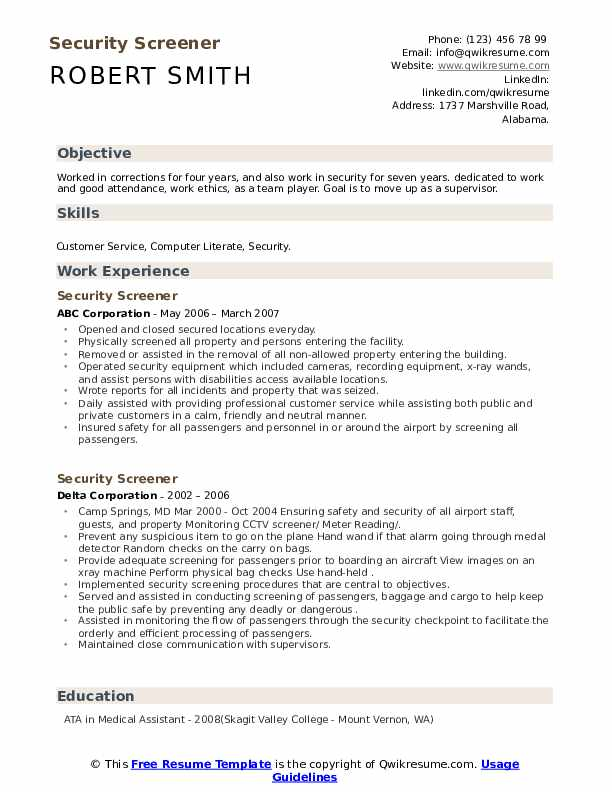 security screener resume samples qwikresume airport objective pdf writing services wpi Resume Airport Security Resume Objective