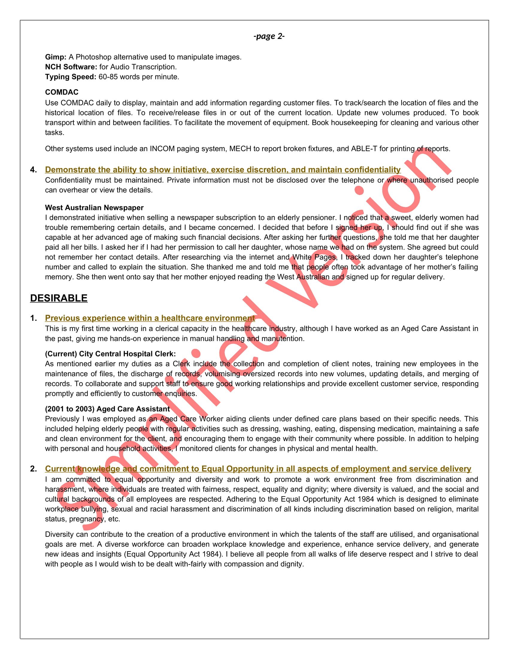 selection criteria examples keep it simple resume examples2 sv role of substitute teacher Resume Resume Selection Criteria Examples