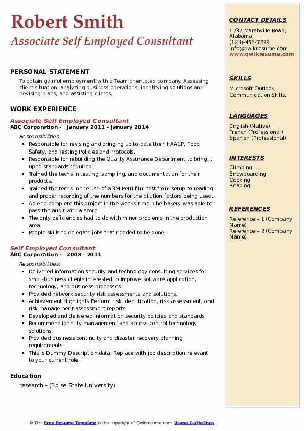 self employed consultant resume samples qwikresume examples pdf easy template Resume Self Employed Resume Examples