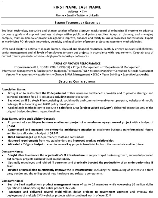 senior technology executive resume sample template examples ex accounting summary merger Resume Senior Executive Resume Examples