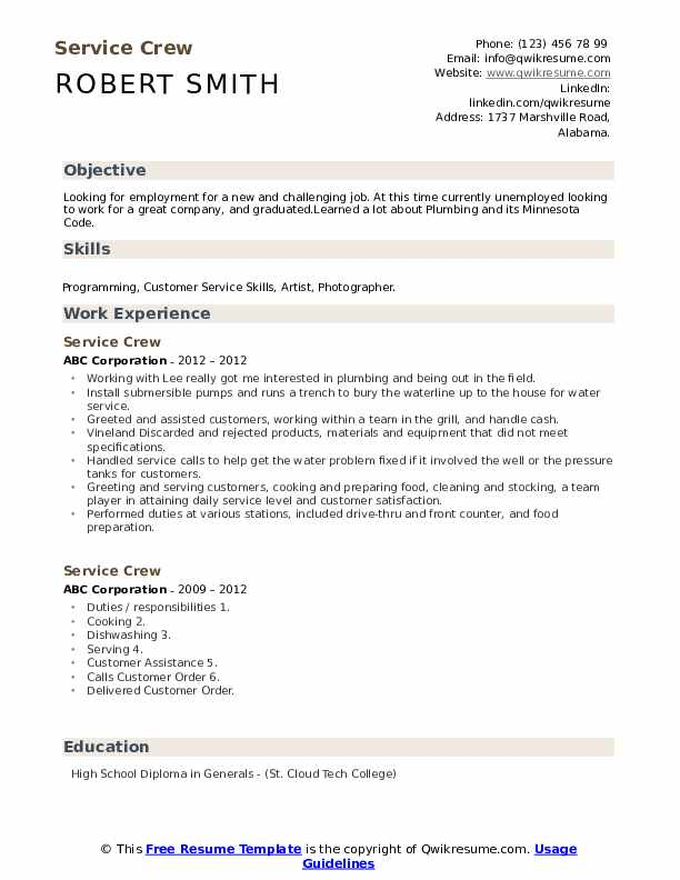 service crew resume samples qwikresume capabilities examples for pdf job definition Resume Capabilities Examples For Resume
