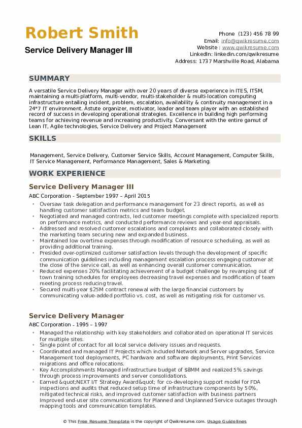 service delivery manager resume samples qwikresume itil certified format pdf waitress Resume Itil Certified Resume Format