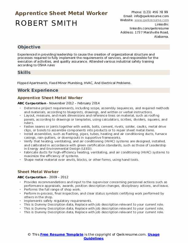 sheet metal worker resume samples qwikresume example pdf massage therapy skills for Resume Sheet Metal Worker Resume Example