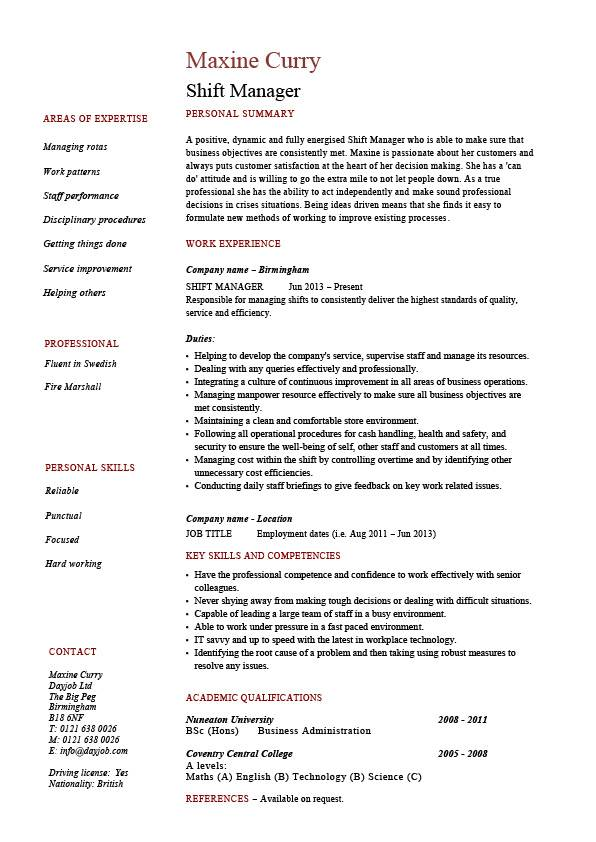 shift manager resume dayjob quality incharge pic best free websites full detailed Resume Quality Incharge Resume