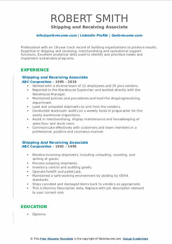 shipping and receiving associate resume samples qwikresume pdf high school summary Resume Shipping And Receiving Associate Resume