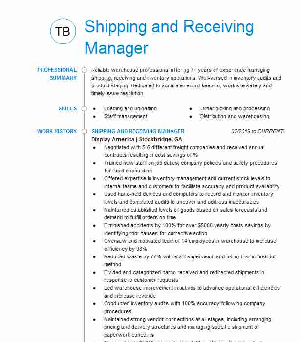 shipping and receiving manager resume example recreational equipment inc tustin sample Resume Shipping And Receiving Manager Resume Sample