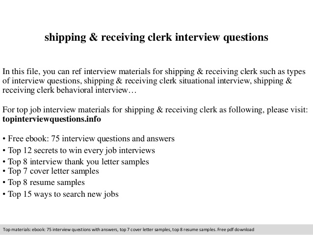 shipping receiving clerk interview questions duties for resume bilingual objective Resume Receiving Clerk Duties For A Resume