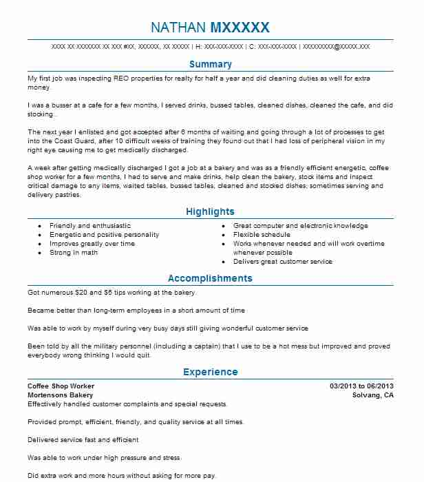 shop worker resume example resumes livecareer barista objective software application Resume Barista Resume Objective