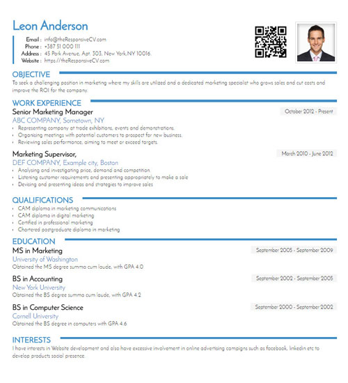 should you include qr code on resume responsive cv linkedin righteous template free Resume Linkedin Qr Code On Resume