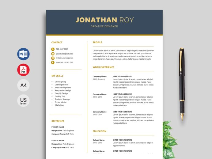 simple resume format cv template free gain for different field cna job duties contoh Resume Free Resume Template Download 2020