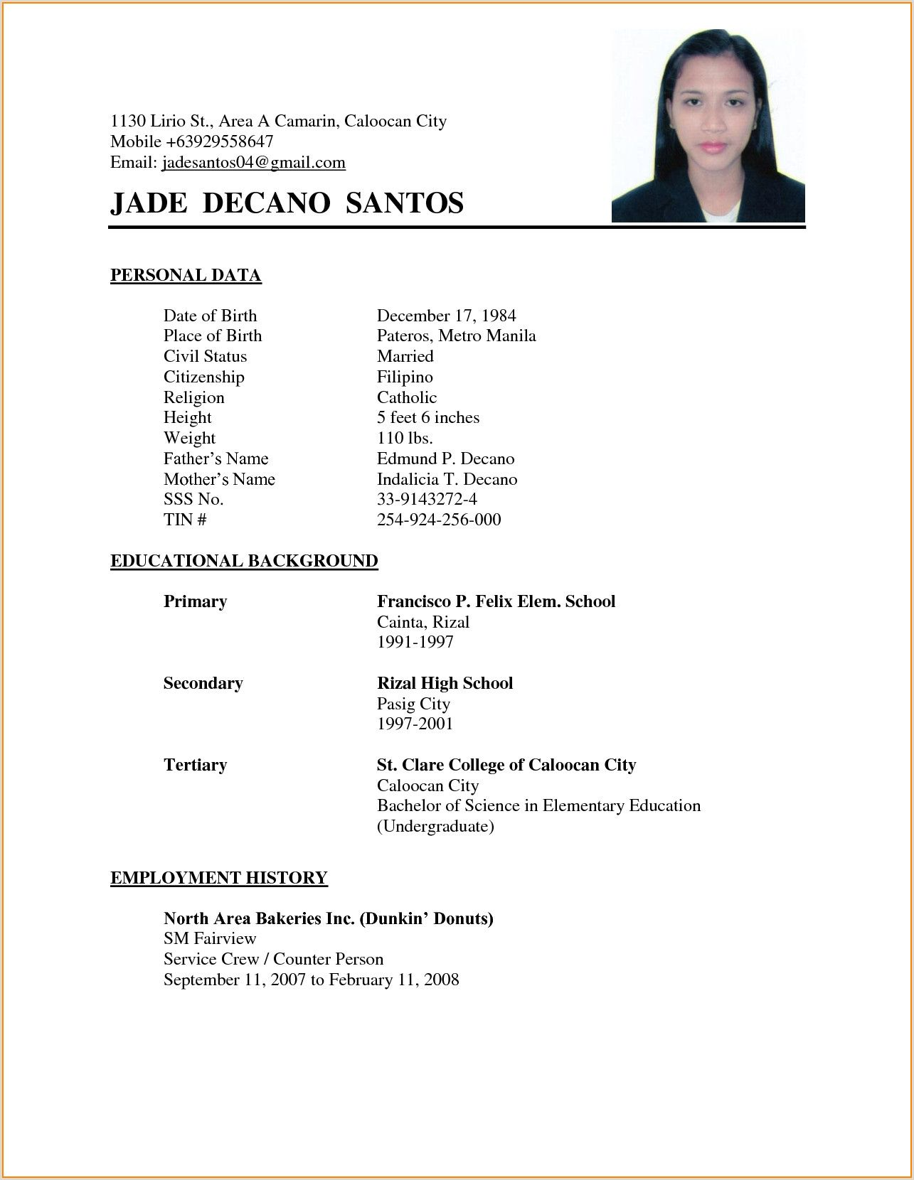 simple resume format examples thank you letter chemotherapy nurse software quality Resume Simple Resume Format Examples