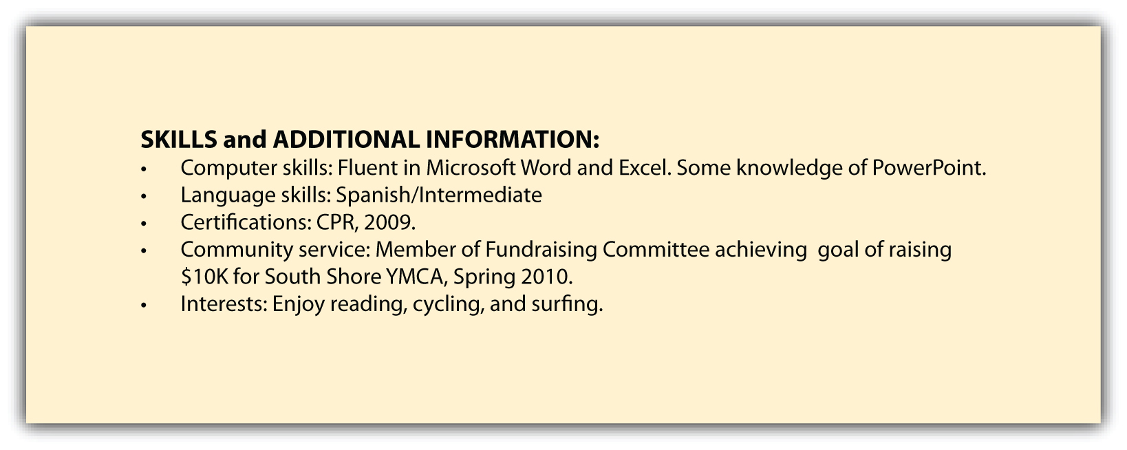 skills additional information and references common interests for resume vocabulary ideas Resume Common Interests For Resume