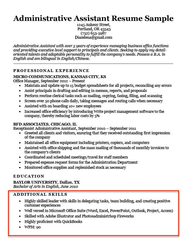 skills for resume examples to them in positive administrative assistant additional Resume Positive Skills For A Resume
