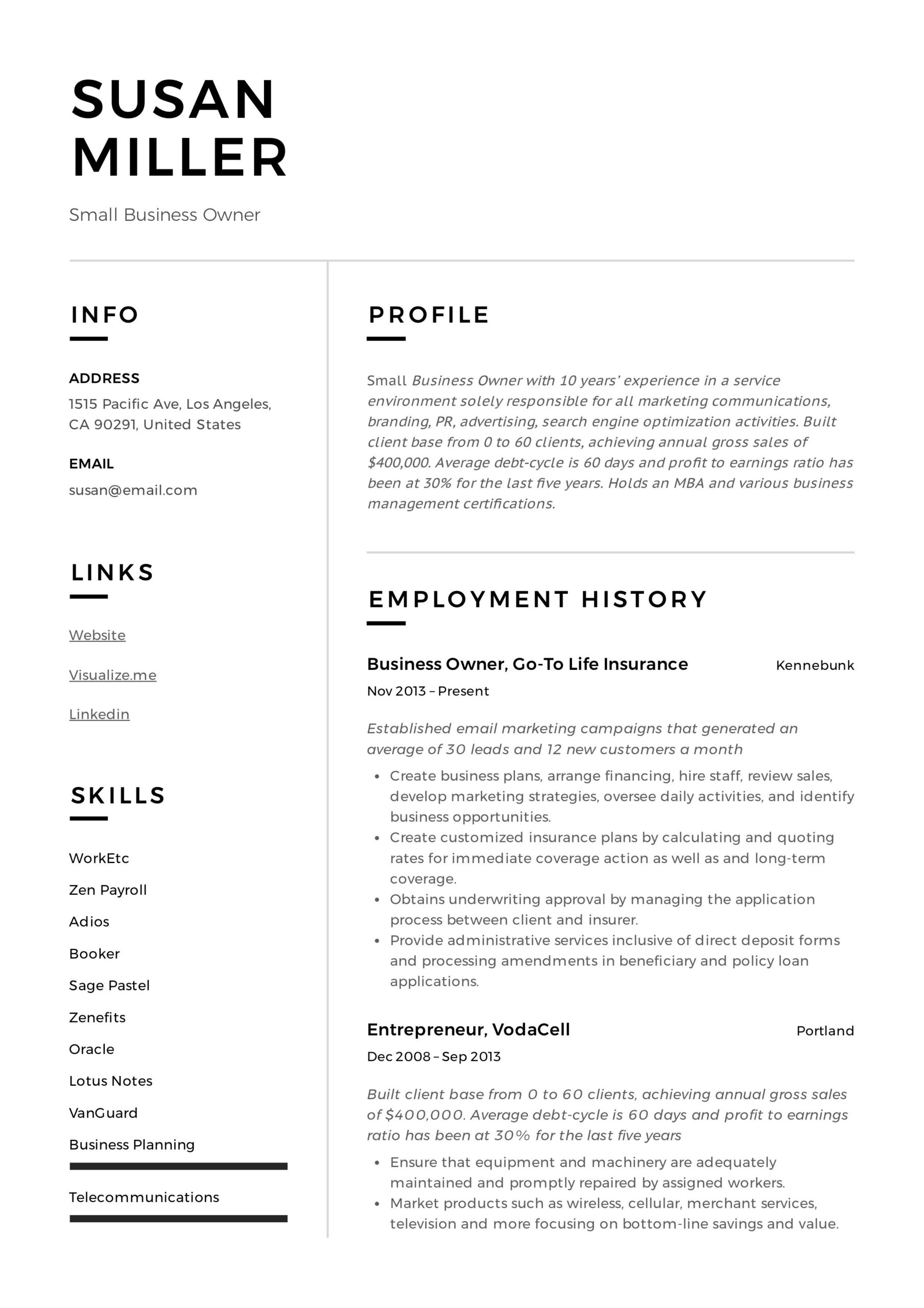 small business owner resume sample examples guide chef account executive keywords animal Resume Account Executive Resume Keywords