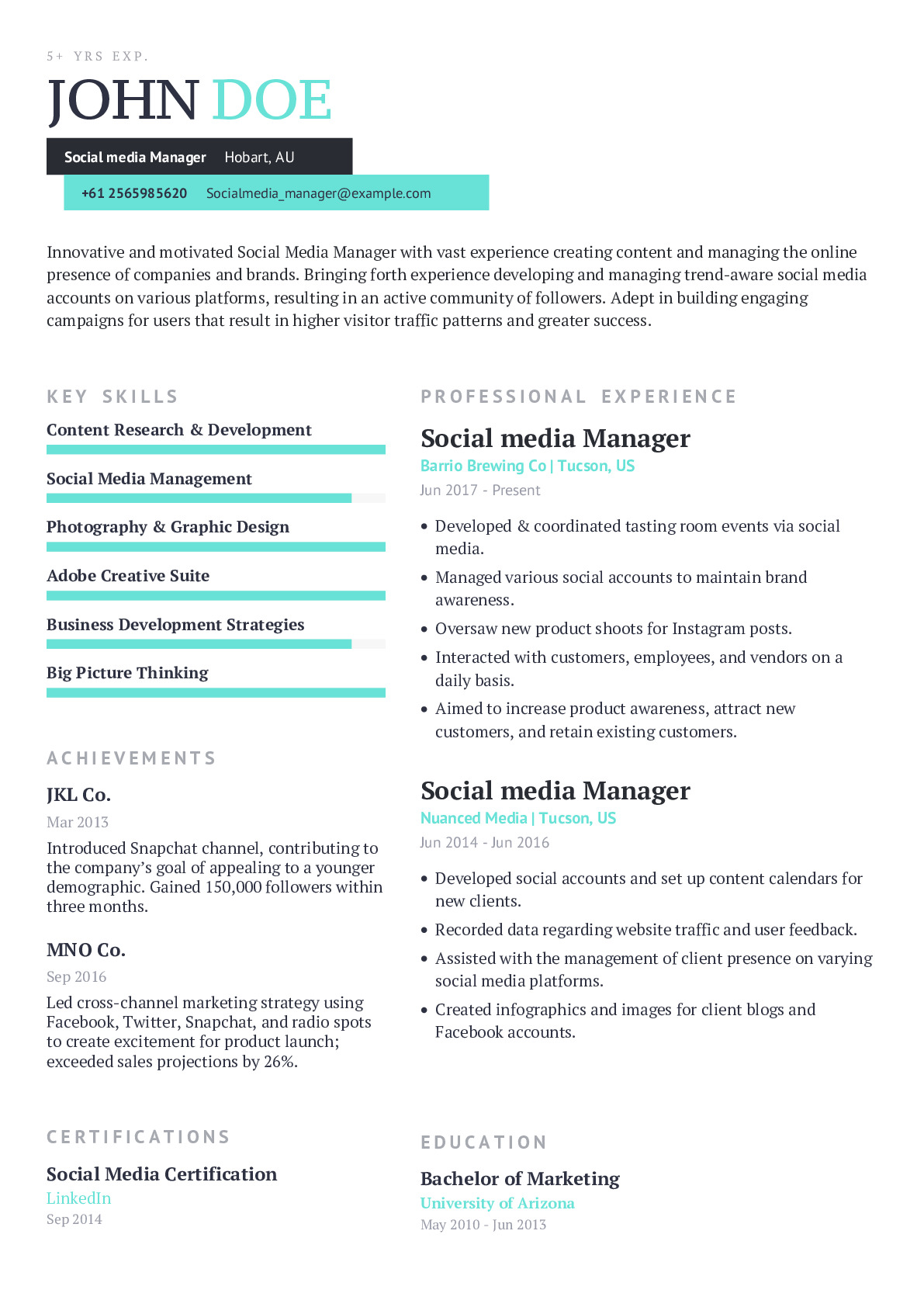 social media manager resume example with content sample craftmycv good objective for Resume Social Media Manager Resume Example