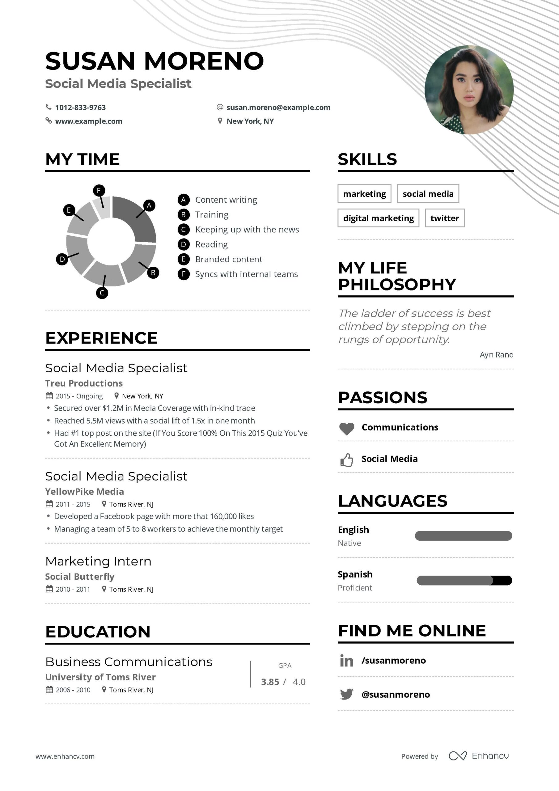 social media specialist resume example and guide for examples marketing studies Resume Business Resume Examples 2019