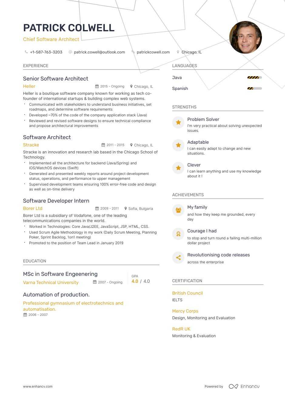 software architect resume guide expert tips samples generated self employed contractor Resume Software Architect Resume