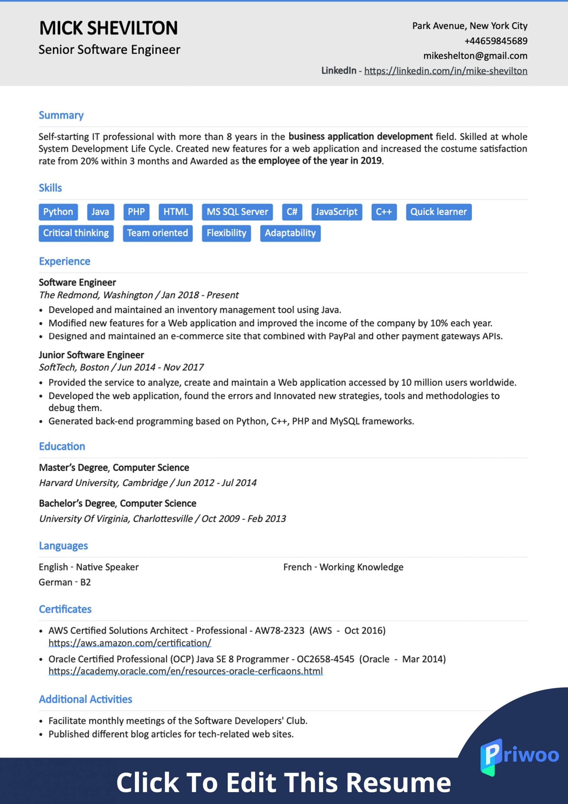 software engineer resume example best action verbs skills priwoo good format for scaled Resume Good Resume Format For Software Engineer