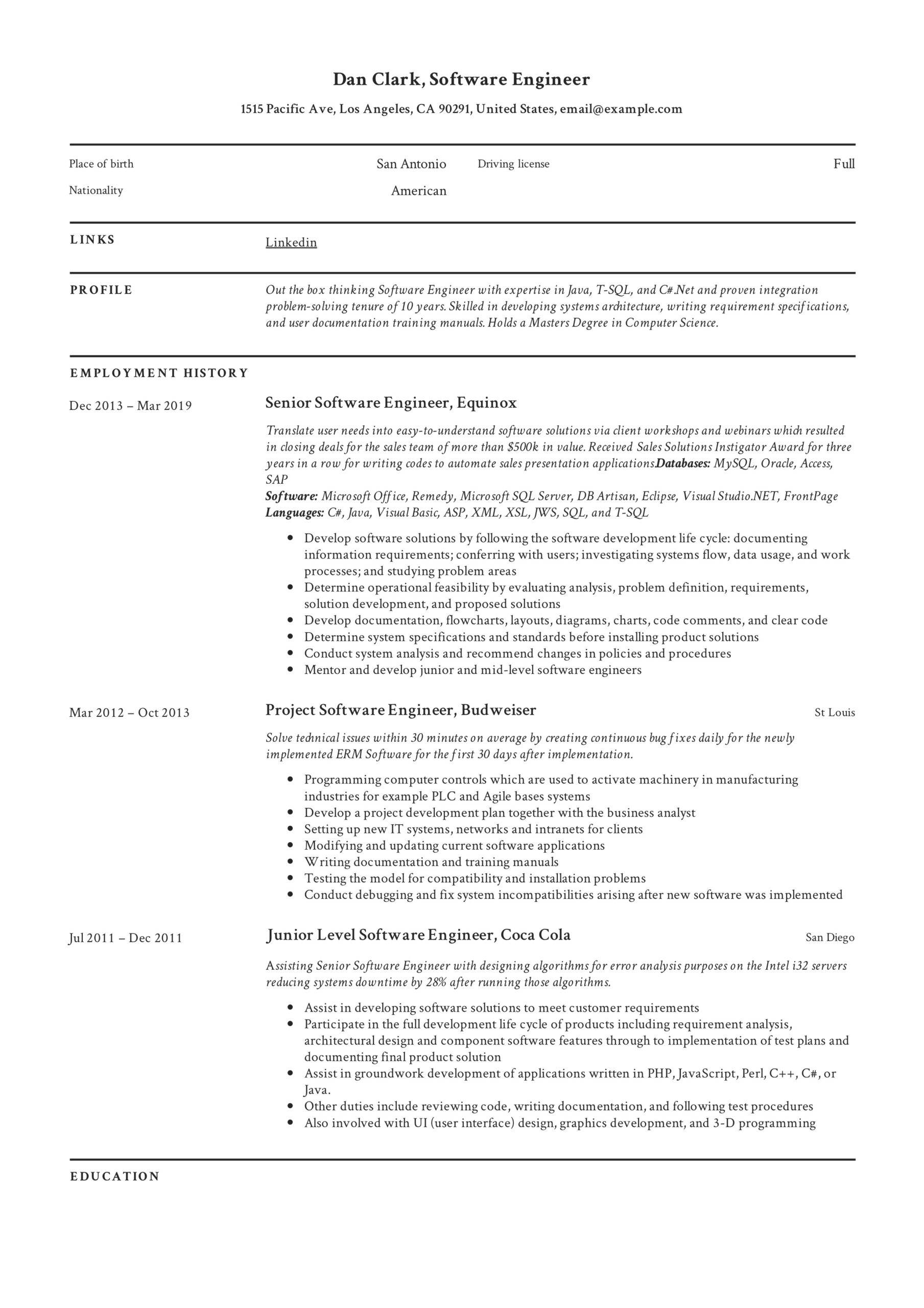 software engineer resume writing guide samples pdf format for computer dan reset Resume Resume Format For Computer Engineer