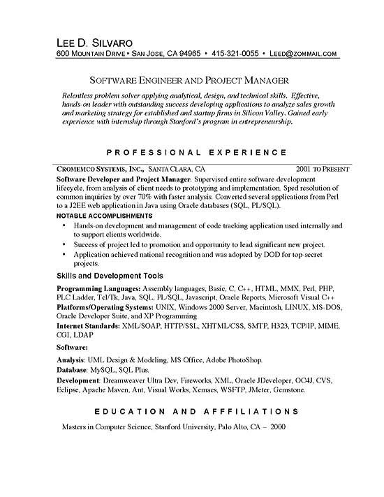 software manager project resume examples engineering experience format one year lead team Resume Software Engineering Manager Resume