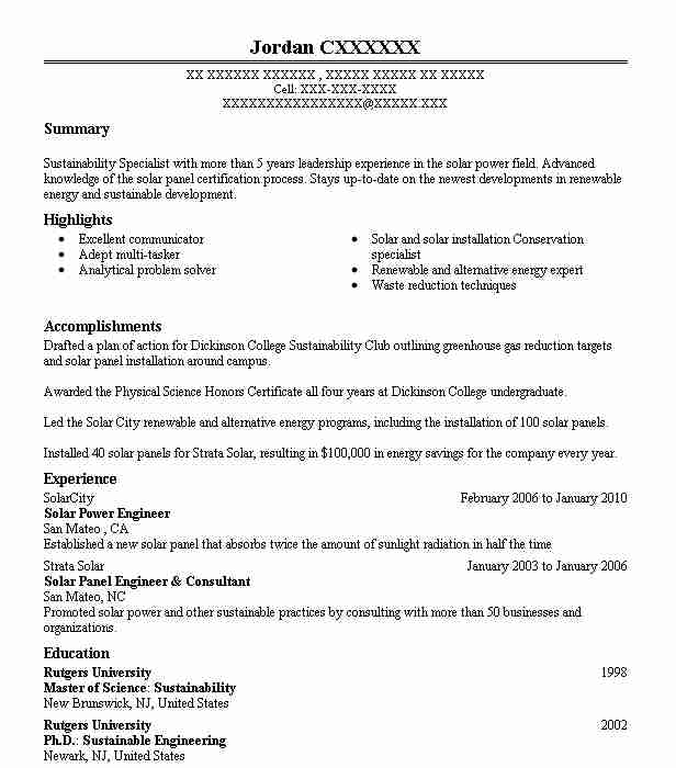 solar engineer resume example engineering resumes livecareer sample project manager ubs Resume Sample Solar Project Manager Resume