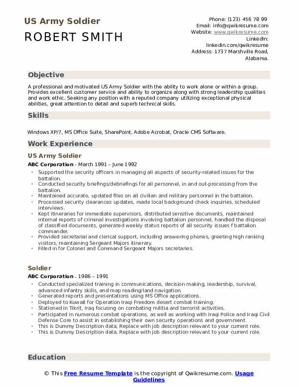 soldier resume samples qwikresume military service on sample pdf template for high school Resume Military Service On Resume Sample