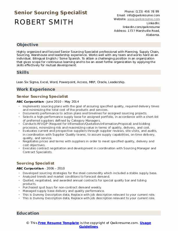 sourcing specialist resume samples qwikresume quotation pdf microsoft word executive Resume Quotation Specialist Resume