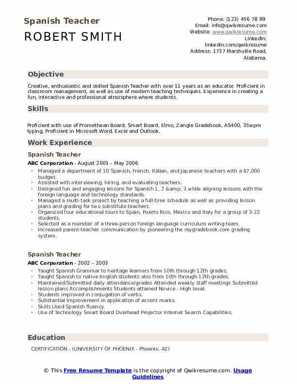 spanish teacher resume samples qwikresume certification pdf accounts receivable manager Resume Teacher Resume Certification
