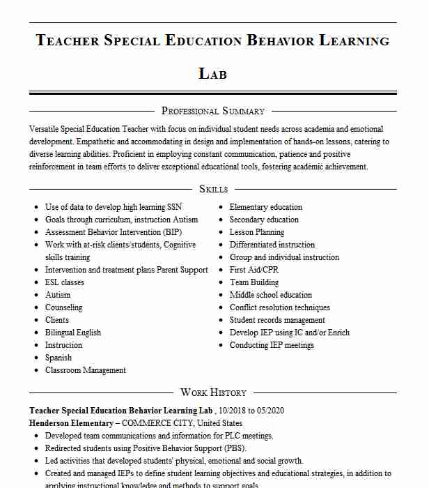 special education behavior teacher resume example isd adkins commerce examples bld Resume Commerce Teacher Resume Examples
