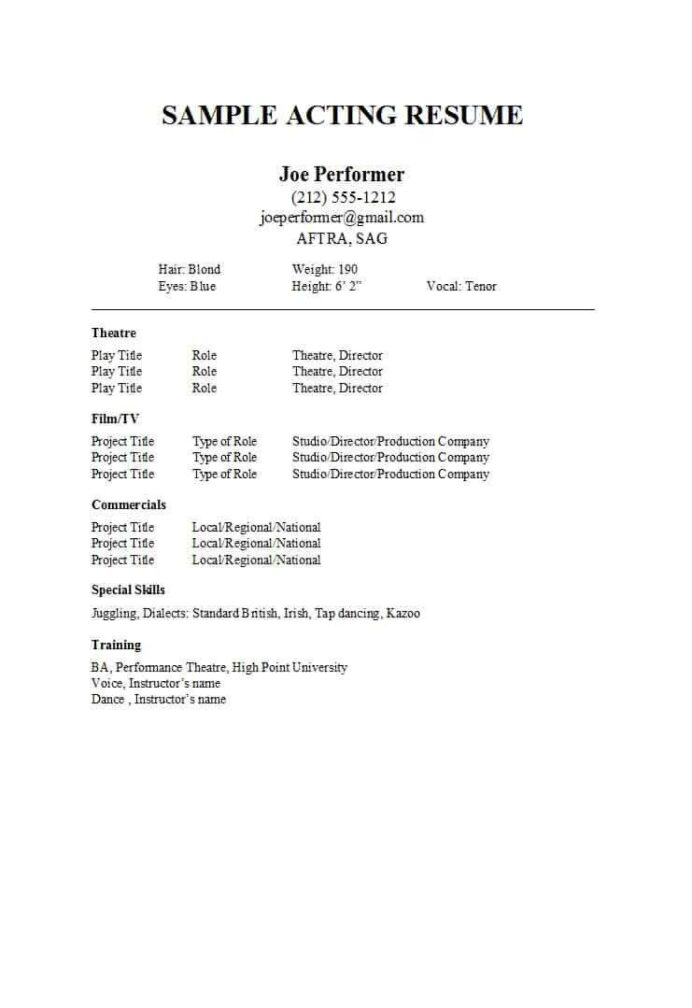 special skills acting resume beautiful free templates word google docs template for Resume Skills For Acting Resume