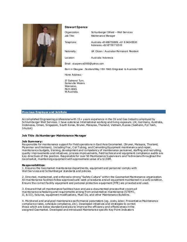 spence maintenance manager cv resume template word simple mental health counselor cover Resume Maintenance Manager Resume