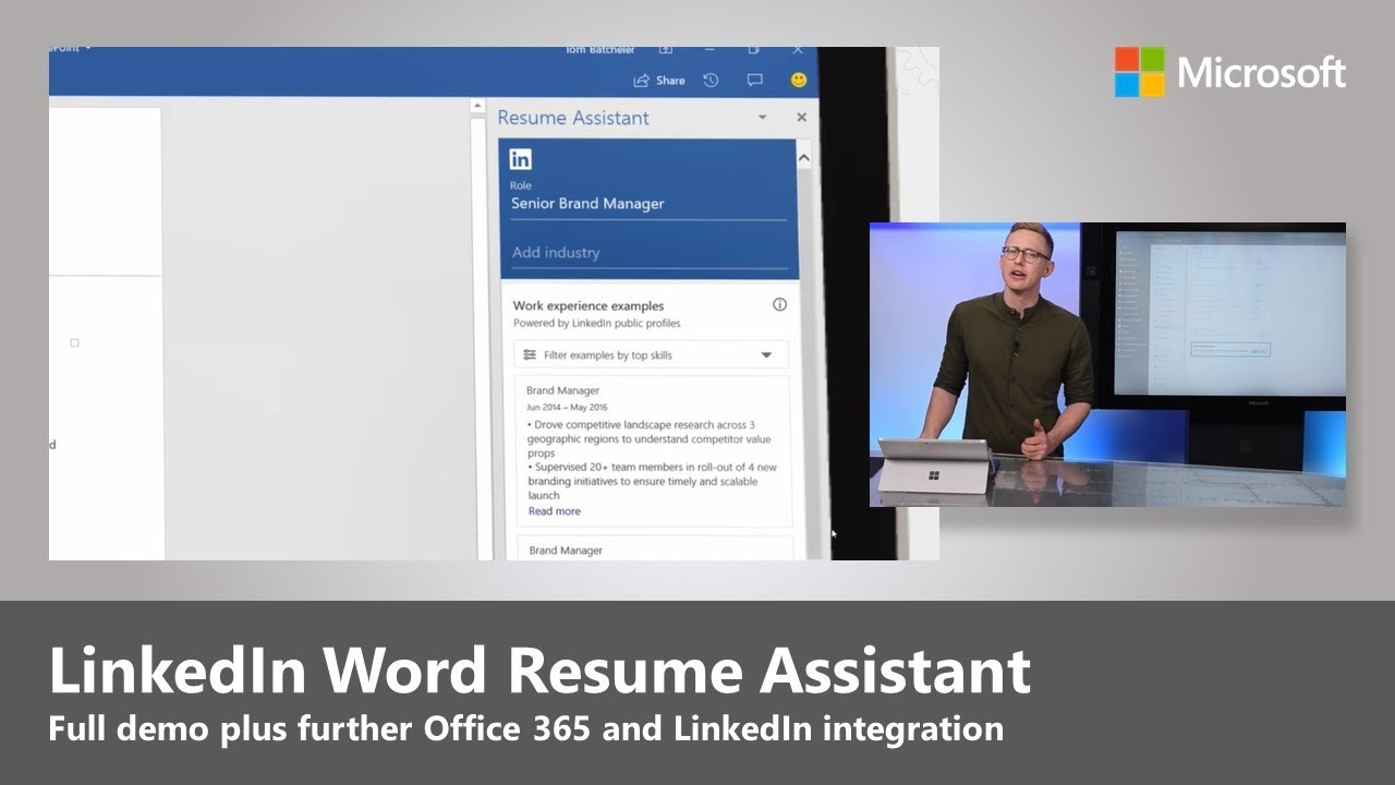 step by demo of linkedin word resume assistant plus new integration in office rig manager Resume Office 365 Resume Assistant