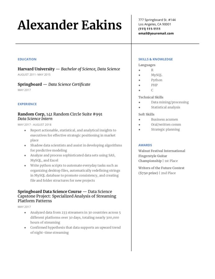 step guide to make your data science resume pop springboard blog with python warehouse Resume Data Science With Python Resume