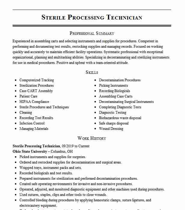 sterile processing technician resume example livecareer machine learning for years Resume Sterile Processing Technician Resume Example