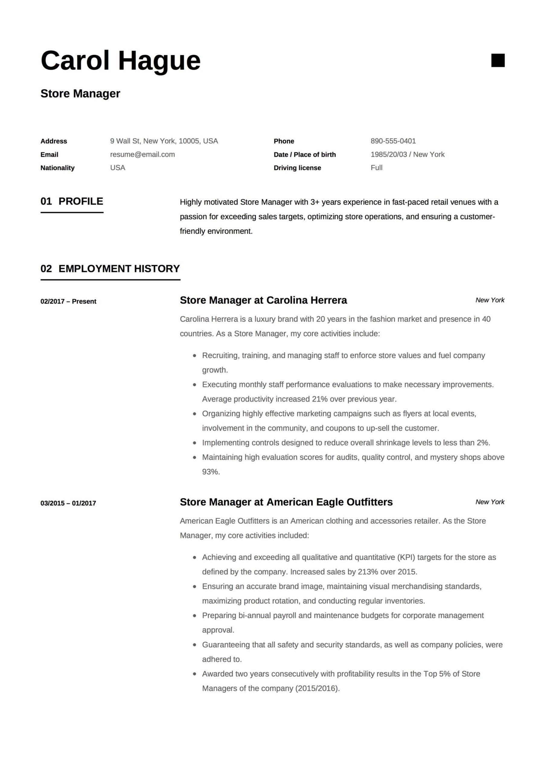 store manager resume guide samples pdf objective retail carol hague example electrical Resume Resume Objective Retail Manager