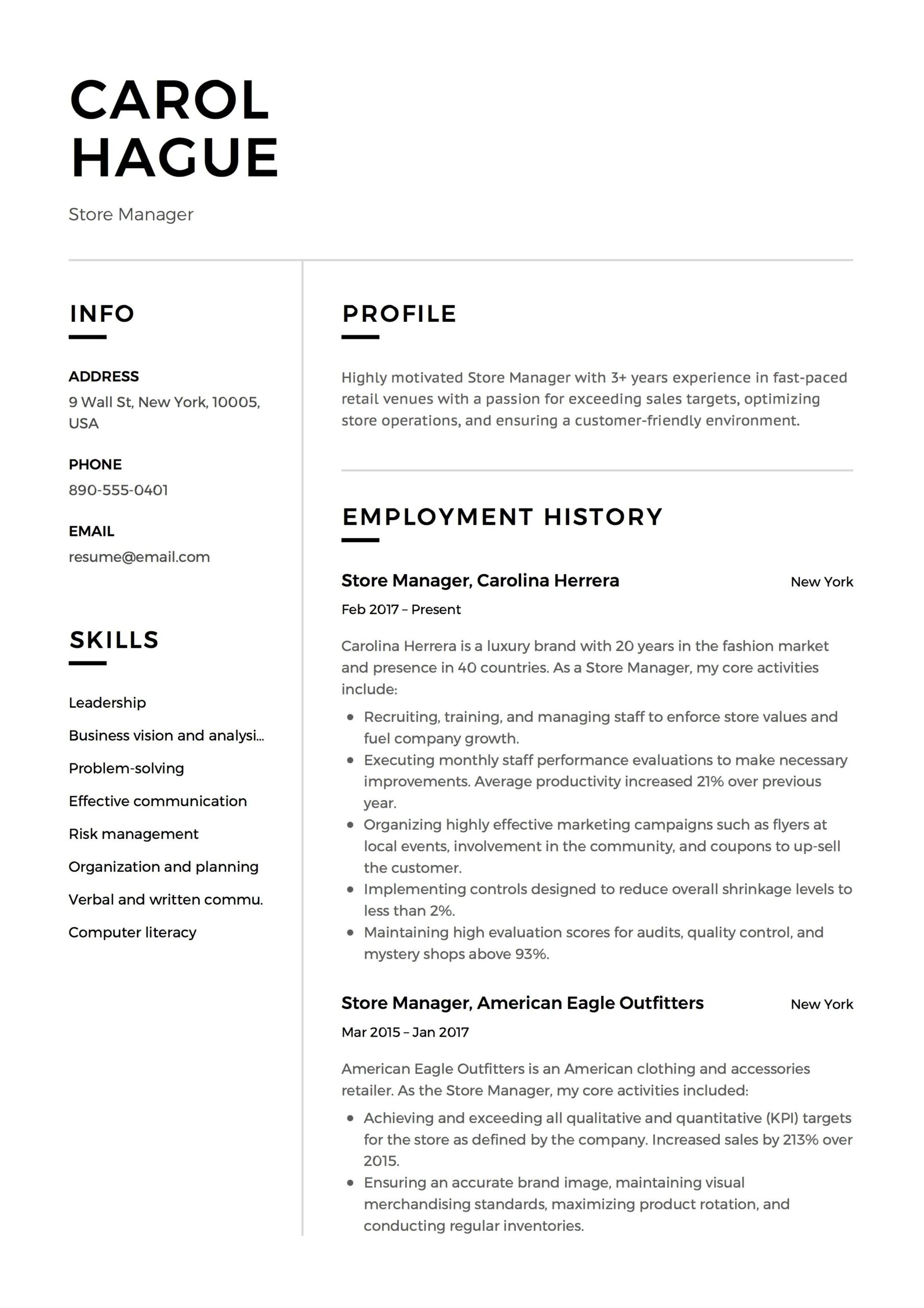 store manager resume sample template example cv formal design guide quantitative examples Resume Quantitative Resume Examples