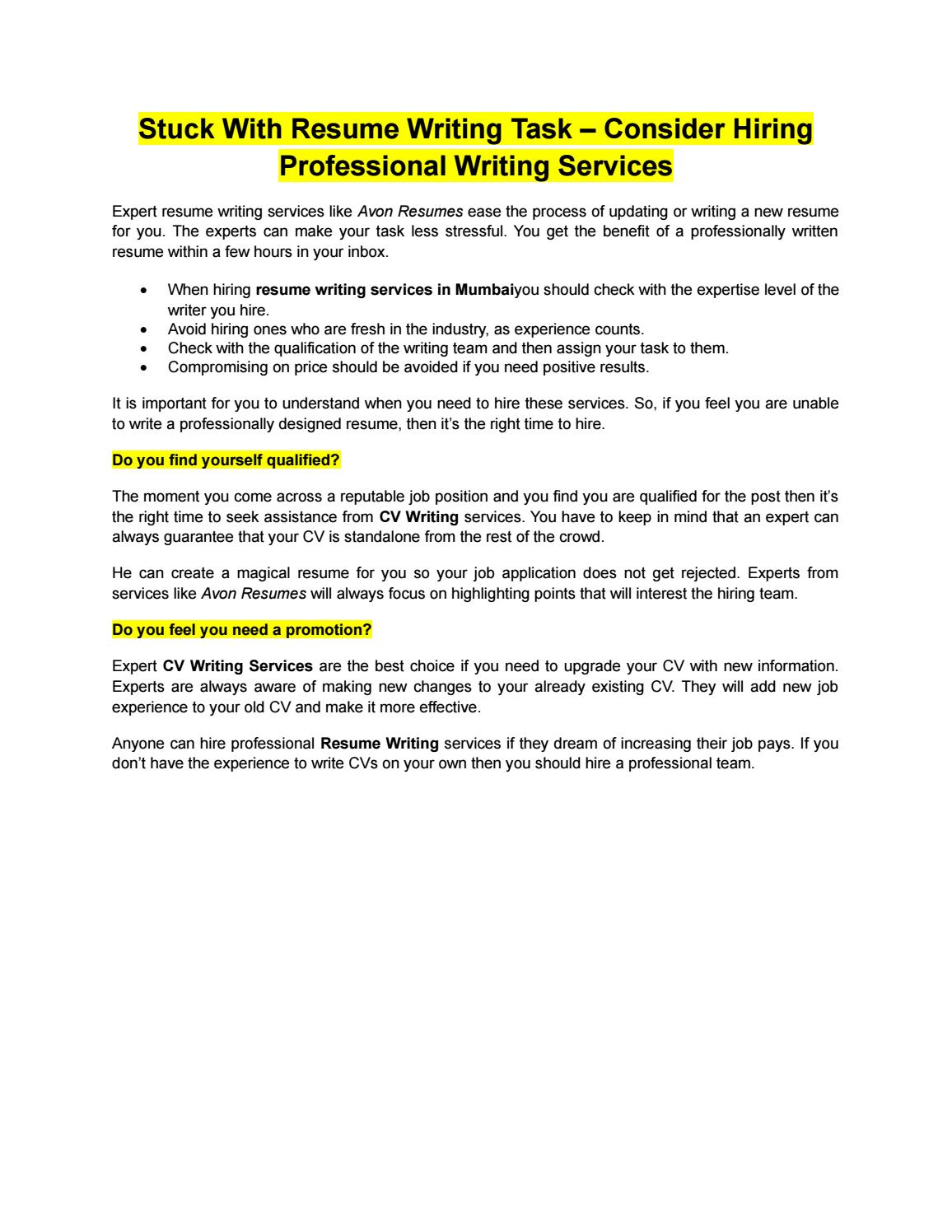 stuck with resume writing task by avon resumes issuu hire professional writer tidyforms Resume Hire A Professional Resume Writer