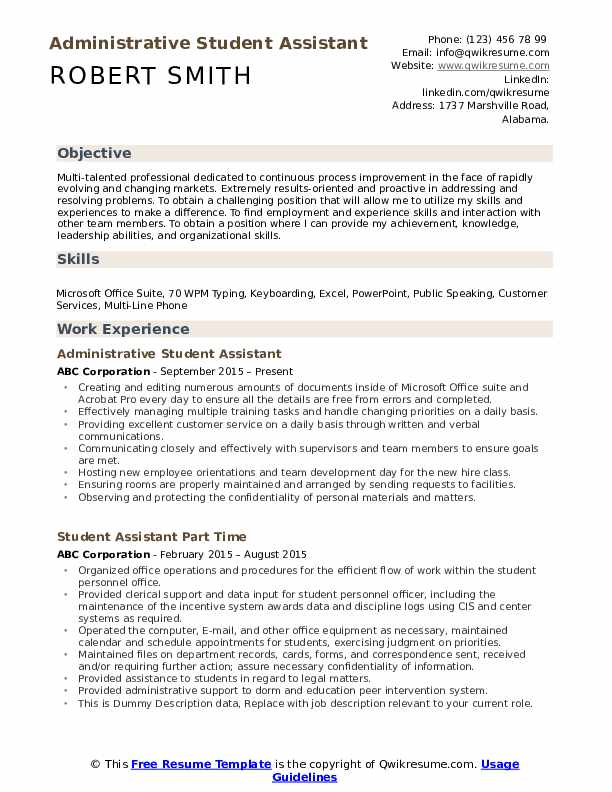 student assistant resume samples qwikresume college objective pdf swiss design canva Resume College Resume Objective