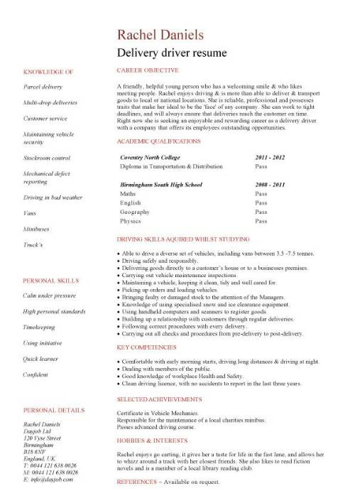 student entry level delivery driver resume template package pic making cover letter for Resume Package Delivery Driver Resume